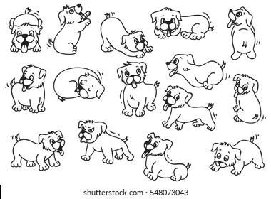 Cartoon puppy in various poses