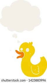cartoon quacking duck with thought bubble in retro style