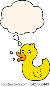cartoon quacking duck with thought bubble in comic book style