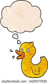 cartoon quacking duck with thought bubble in grunge texture style