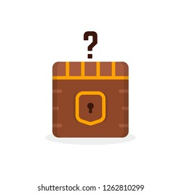 cartoon question box like treasure. concept of mmorpg game item for micro payments and simple quest badge. flat cartoon trend modern faq logotype graphic art design isolated on white background