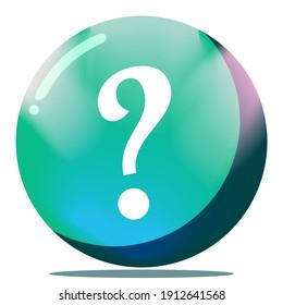 Cartoon Question Mark Button Game GUI 3D Round Ball