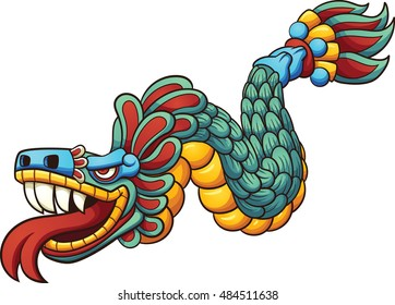 Cartoon Quetzalcoatl. Vector clip art illustration with simple gradients. All in a single layer.