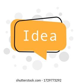 Cartoon quick tips badge for banner design. Creative idea. Vector illustration. Speech.