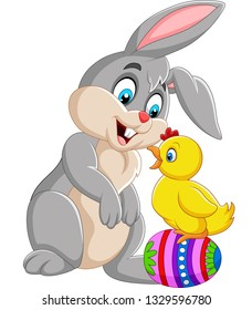 Cartoon rabbit with a baby chick standing on Easter egg