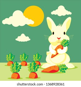 Cartoon rabbit with carrot plant in the garden, hold carrot - Vector