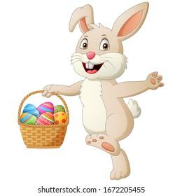 Cartoon rabbit holding easter eggs in basket . Vector illustration