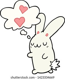 cartoon rabbit in love with thought bubble