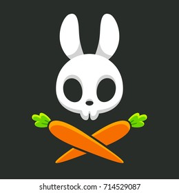 Cartoon rabbit skull with carrots, cute Jolly Roger design. Halloween vector illustration.