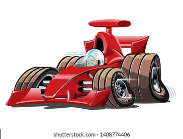 Cartoon race car. Available eps-10 vector format separated by groups and layers for easy edit