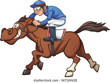 Cartoon Race Horse Vector Clip Art Illustration With Simple Gradients Jockey And On