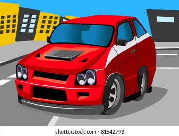 cartoon racing car five