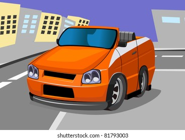 cartoon racing car seven