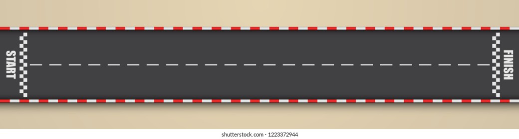 Cartoon racing track for a quarter mile ride, top view, vector illustration