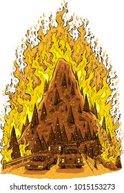 A cartoon of a raging forest fire consuming a mountain hill with a road full of evacuating cars in the foreground.