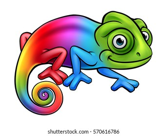 Cartoon rainbow chameleon lizard character mascot