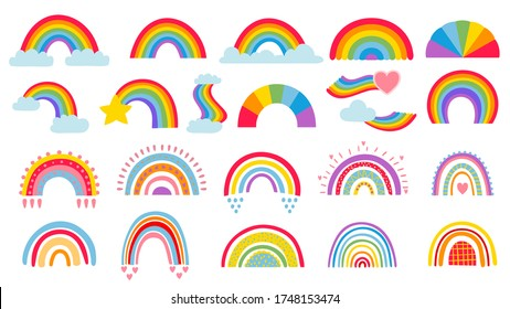 Cartoon rainbow. Colourful rainbows, heart and cloud with rainbow colors tail. Hand drawn color arc vector illustration set. Cartoon rainbow doodle, graphic colorful collection