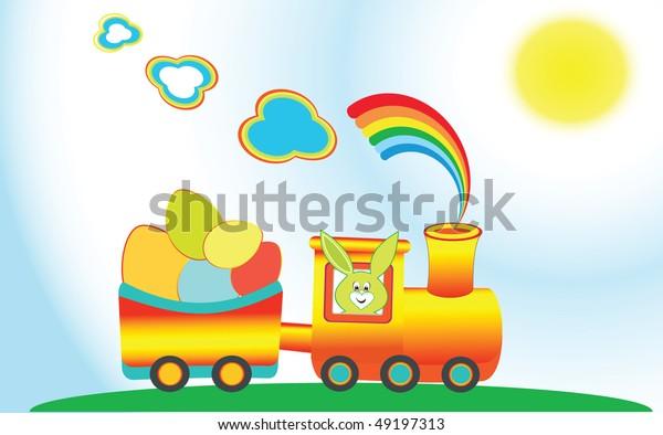 Cartoon Rainbow Train Color Easter Eggs Stock Vector