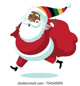 Cartoon Rastafarian Santa Claus. Santa delivers gifts for Rasta Christmas. EPS 10 vector.