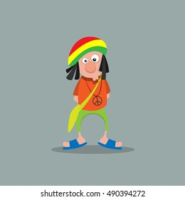 Cartoon rastaman hippie