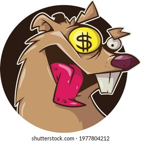 cartoon rat with gold coin in eye
