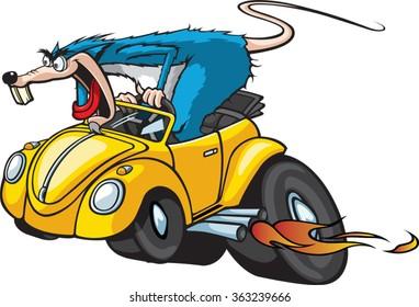 Cartoon Rat in a Hot Rod Car. Vector File. Hot Rod Rat.