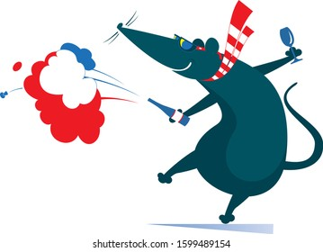 Cartoon rat or mouse, bottle and champagne splashes isolated illustration. Comic dancing rat or mouse holds a bottle of wine or champagne and a glass isolated on white illustration