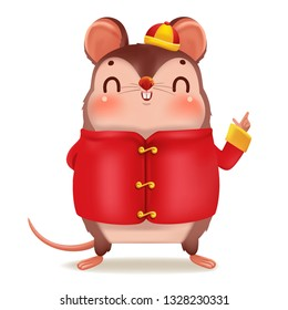 Cartoon rat personality. Front view. Zodiac symbol of the year 2020. Chinese New Year, the year of the rat. It is pointing up the hand and smiling. Cute Chinese style hat. Vector cartoon illustration