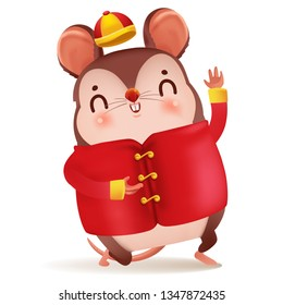 Cartoon rat personality. Red cheongsam dress. Zodiac symbol of the year 2020. Chinese New Year, the year of the rat. It is showing gestures and smiling. Cute Chinese style hat. Vector