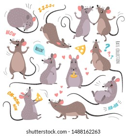 Cartoon rats collection. Vector illustration of funny rats in various poses and actions. Isolated on white.