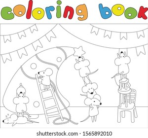 Cartoon rats or mice decorate Christmas tree. Coloring book for kids. Digital illustration