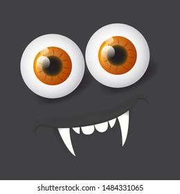 Cartoon realistic 3d alien vampire face. Vector Halloween monster with eyes. Design for print, decoration, logo, emblem, book illustration, merchandise, t-shirt