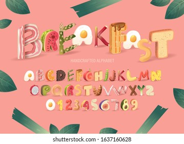 Cartoon realistic breakfast set of typeface. Funny food alphabet. 3D letters in a pink background. Friendly handcrafted collection