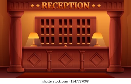 Cartoon reception interior of a vintage old hotel, vector illustration