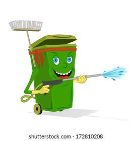 Cartoon Recycle Wheelie Bin - Illustration