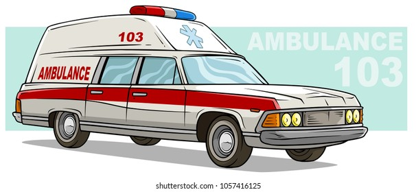 Cartoon red ambulance emergency old retro long carwith text label and medicine sign. Isolated on white. Vector icon.