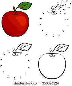 Cartoon red apple. Vector illustration. Coloring and dot to dot educational game for kids
