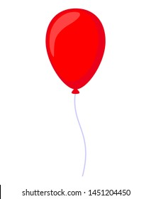 Cartoon red baloon. Decorative party element. Birthday themed vector illustration for icon, stamp, label, certificate, brochure, gift card, poster, coupon or banner decoration