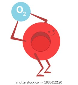 Cartoon red blood cell carrying oxygen. Vector illustration of red blood cell hemoglobin and oxygen for infographics, banner, icon, motion design. Medicine picture.