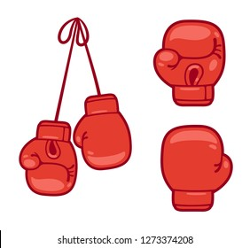 Cartoon red boxing gloves set. Isolated vector illustration.