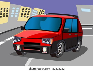 cartoon red car two