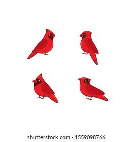 Cartoon red cardinally sketch line icon. Kawaii bird icons set. Childish print for nursery, kids apparel, poster, postcard, pattern.