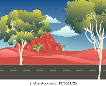 Cartoon red desert, Australian landscape with trees illustration.