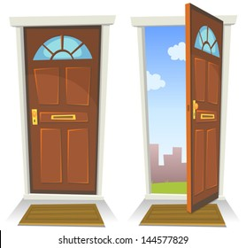 Cartoon Red Door, Open And Closed/ Illustration of a cartoon front red door opened on a spring urban backyard and closed, symbolizing private and public frontier, with mat carpet to wipe foot