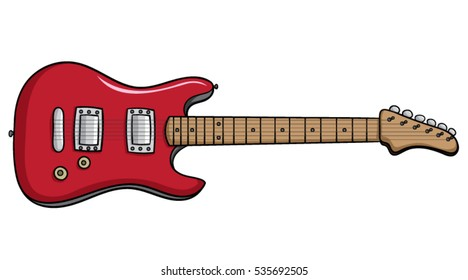 Cartoon red electric guitar