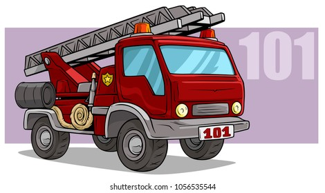 Cartoon red emergency rescue fire department truck with flasher, metal ladder and water hosepipe. On violet background. Vector icon.