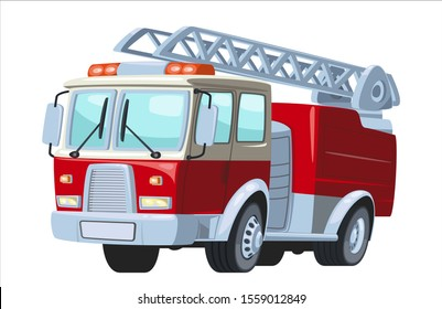 Cartoon red Fire truck car sticker for boys. Vector illustration of water engine car for scrapbook. Emergency truck .Funny cartoon car in paper cut style. Comic character for textile