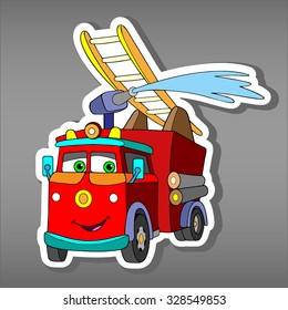 Cartoon red Fire truck car sticker for boys. Vector illustration of water engine car for scrapbook. Emergency truck Applique Background.Funny smile car in paper cut style. Comic character for textile