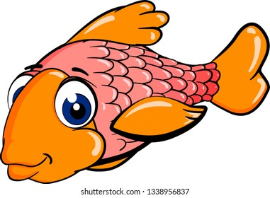 Cartoon red fish with a lot of scales isolated on white background. Vector illustration.