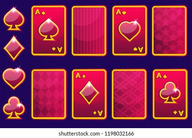 Cartoon red four poker game cards and card back.Vector GUI elements and icons
